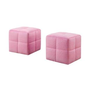 Monarch Kids Fabric Ottoman Set - 2 Pieces - Fuzzy Pink