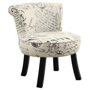 Chaise en tissu rétro français, beige et noir