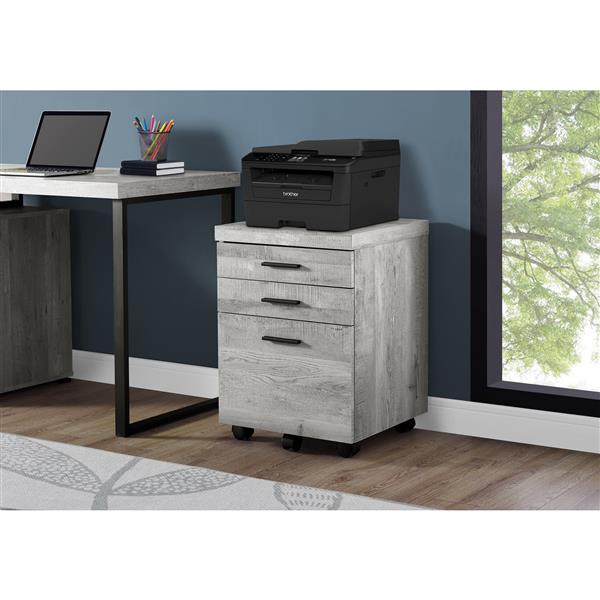 Monarch Reclaimed Wood Filing Cabinet - 3 Drawers - Grey