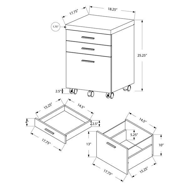 Classeur en bois à 3 tiroirs, naturel