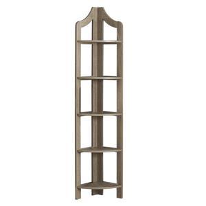 Monarch Corner Bookcase - 72-in- Dark Taupe