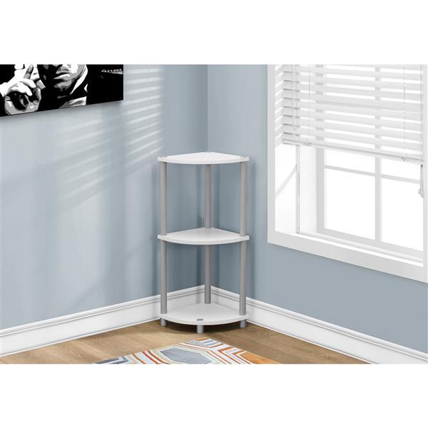Monarch Corner Bookcase - 2 shelves - White - 30-in