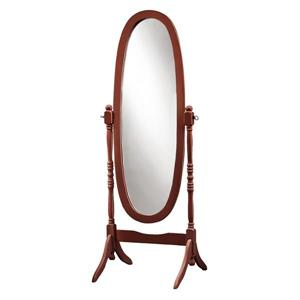 Monarch Oval Standing Mirror with Wood Frame - 59-in - Walnut