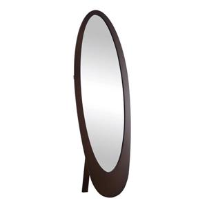 Monarch Oval Mirror with Wood Frame - 59-in - Cappuccino