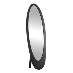 """Miroir ovale avec cadre en bois, 59"""", noir"""