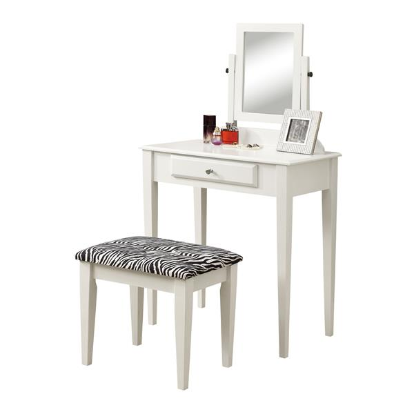 Monarch Makeup Vanity Set - 2 Pieces - White/Zebra