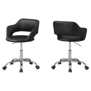Chaise de bureau en faux cuir, noir