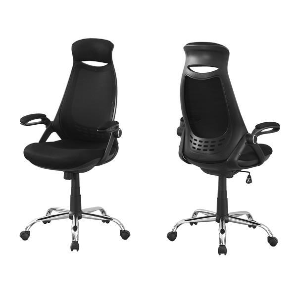 Chaise de bureau en filet contemporain, noir/chrome