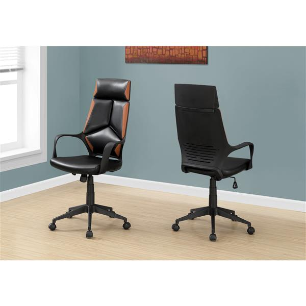 Monarch Faux Leather Office Chair - Black/Brown