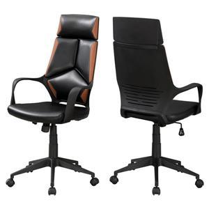 Chaise de bureau en faux cuir, noir/brun