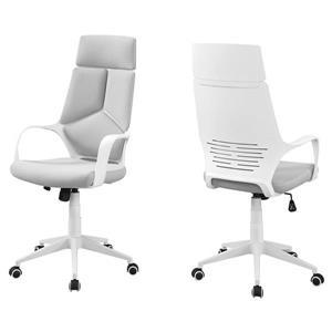 Chaise de bureau en tissu contemporain, blanc/gris