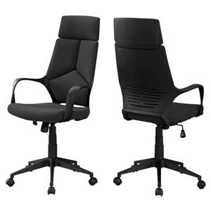 Chaise de bureau en tissu contemporain, noir