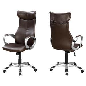 Chaise de bureau enfaux cuir, brun