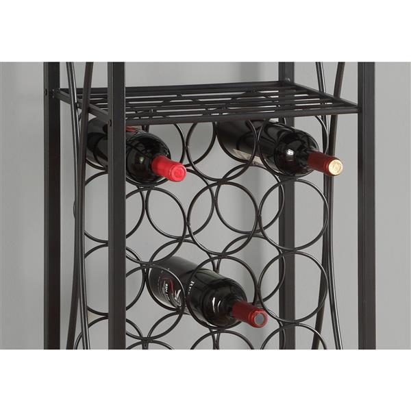 """Support à vin pour 15 bouteilles, 40"""", noir"""