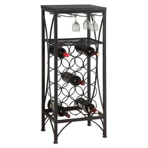 Monarch Wine Rack Holds up 15 bottles - 40-in - Black