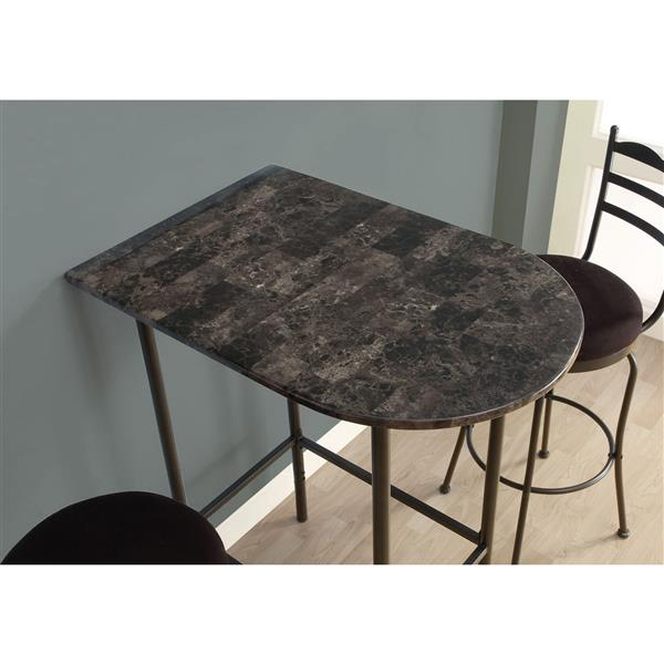 Monarch Home Bar - 24-in x 36-in - Grey Marble/Metal