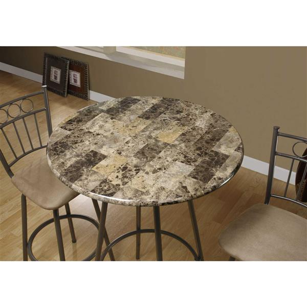 Monarch Home Bar - 30-in- Cappuccino Marble/Coffee Metal
