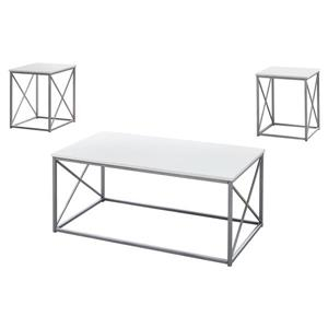 Monarch Metal Table Set - 3 Pieces - White/Silver