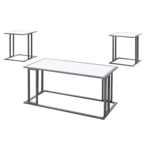 Ensemble de tables en métal, 3 mcx, blanc/argent