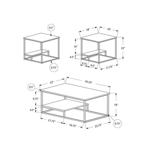 Monarch Metal Table Set - 3 Pieces - White/Silver