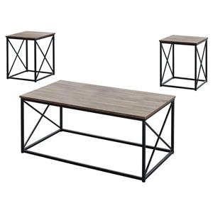 Monarch Metal Table Set - 3 Pieces - Dark Taupe/Black