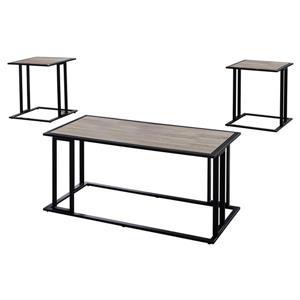 Ensemble de tables en métal, 3 mcx, taupe foncé/noir