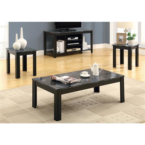 Monarch Metal Table Set - 3 Pieces - Black/Grey Marble