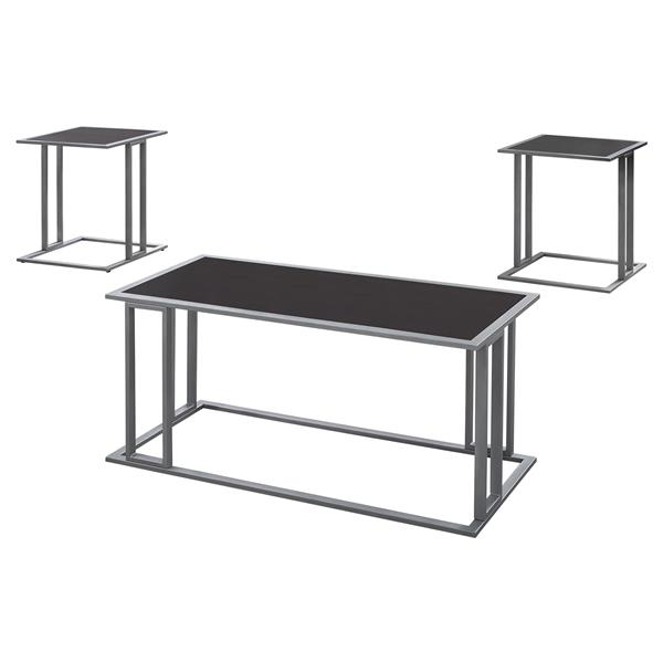 Monarch Metal Table Set - 3 Pieces - Cappuccino/Silver