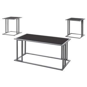 Ensemble de tables en métal, 3 mcx, cappuccino/argent