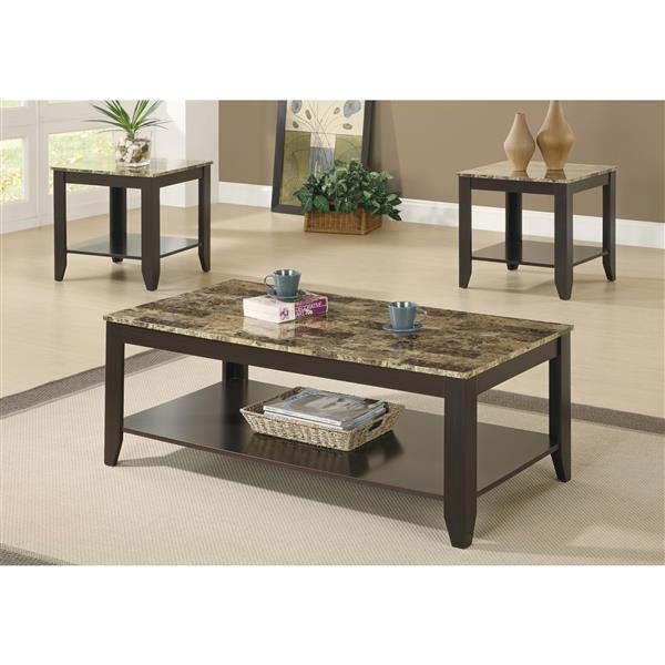 Monarch Wood Table Set - 3 Pieces - Cappuccino/Marble