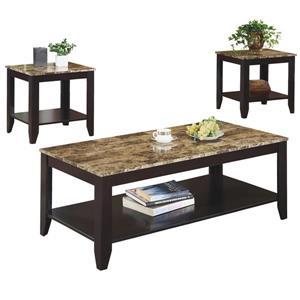 Ensemble de tables en bois, 3 mcx, cappuccino/marbre
