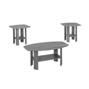 Ensemble de tables en bois, 3 mcx, gris