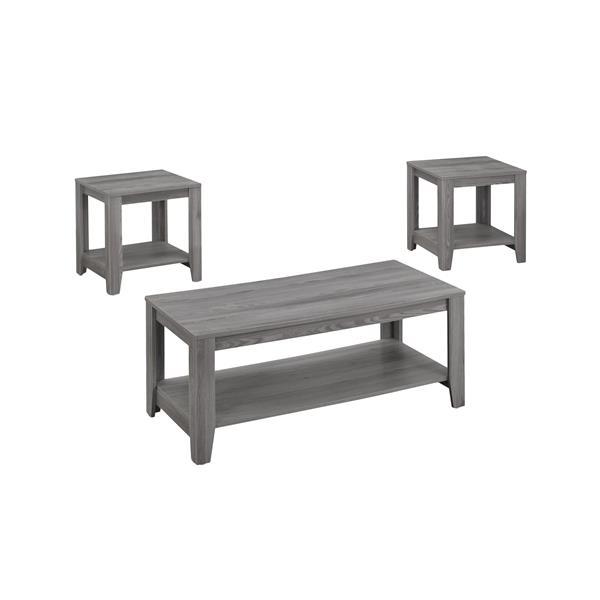 Monarch Wood Table Set - 3 Pieces - Grey