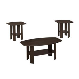 Ensemble de tables en bois, 3 mcx, cappuccino