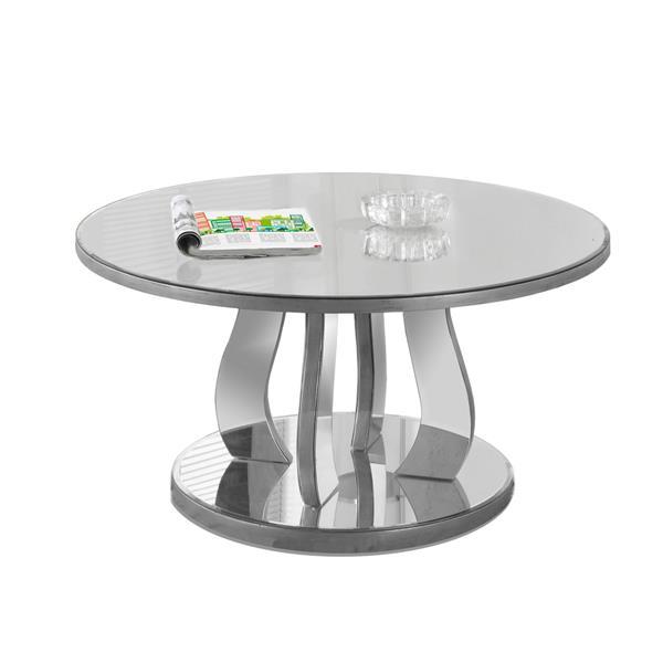 Monarch Specialties Round, Silver Mirror End Table