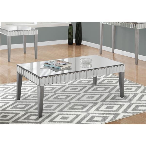 "Table basse rectangulaire, 48"" x 24"", argent"