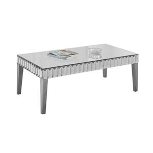 "Table basse rectangulaire, 48"" x 24"", argent"