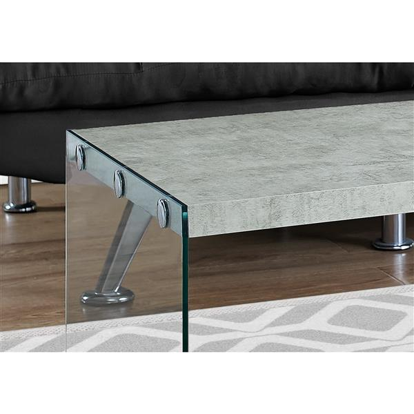 Monarch Rectangular Glass Coffee Table - 44-in - Grey