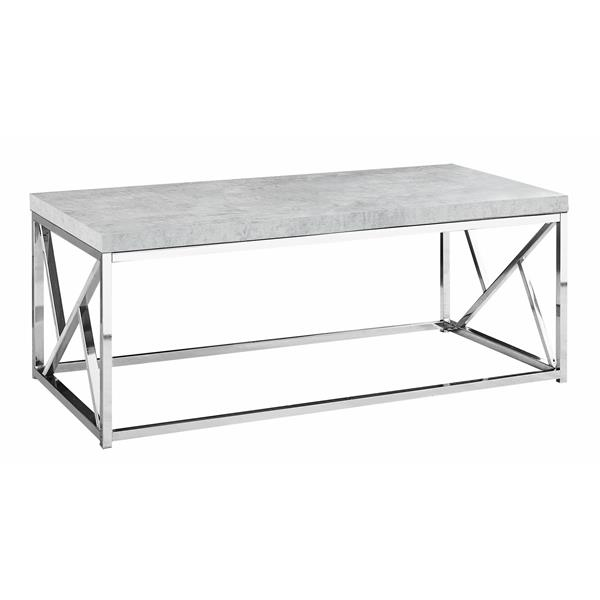 Monarch Rectangular Coffee Table - 47-in - Grey/Chrome