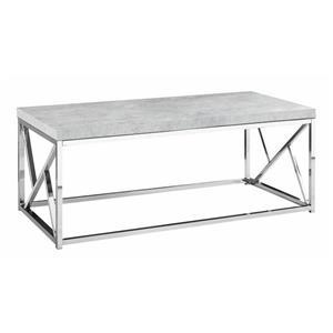 "Table basse rectangulaire, 47"", gris/chrome"