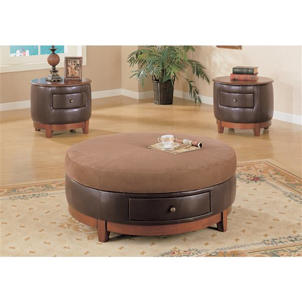 Monarch Round Coffee Table - 42-in - Brown