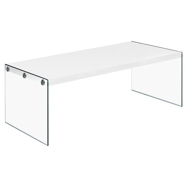 Monarch Rectangular Class Coffee Table - 44-in - White