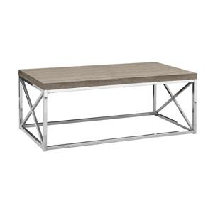 "Table basse rectangulaire, 44"", taupe/chrome"