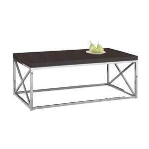 "Table basse rectangulaire, 44"", cappuccino/chrome"