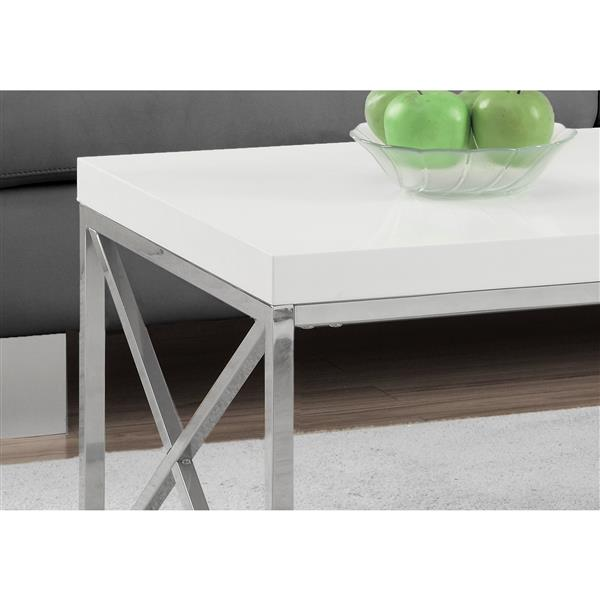 Monarch Rectangular Coffee Table - 44-in - White/Chrome