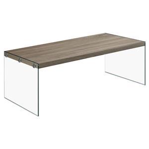 """Table basse rectangulaire en verre, 44"""", taupe foncé"""