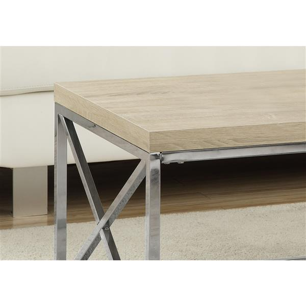 Monarch Ractangular Coffee Table - 44-in - Natural/Chrome