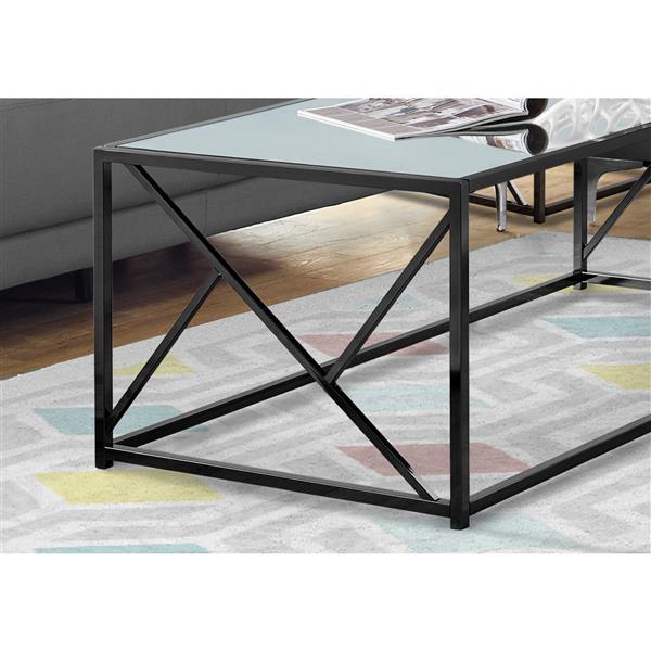 Monarch Rectangular Coffee Table - 47-in - Black/Mirror