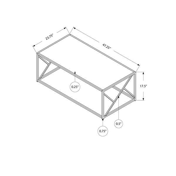 """Table basse rectangulaire, 47"""", noir/miroir"""
