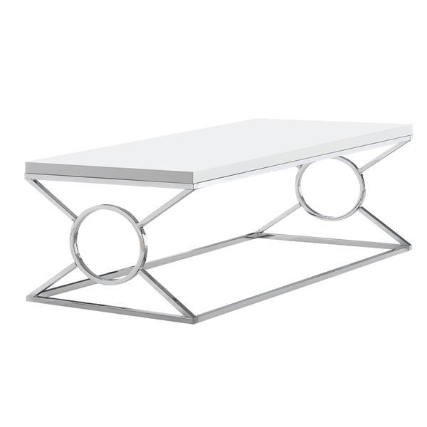 "Table basse rectangulaire, 44"", blanc/chrome"
